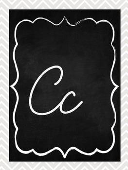 Chalkboard and Chevron Alphabet Line Cursive