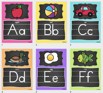 Alphabet Posters and Bunting in a Chalkboard and Chevron Classroom Decor Theme