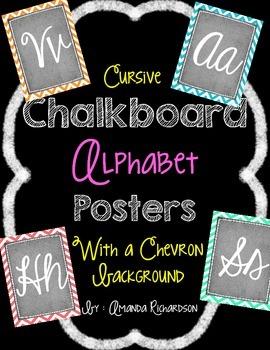 Chalkboard and Chevron Cursive Alphabet