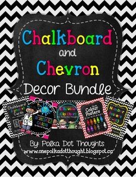 Chalkboard and Chevron Decor Bundle