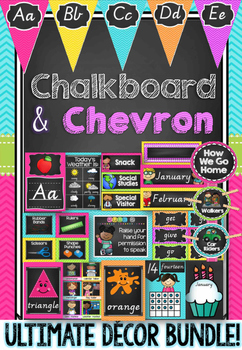 Chalkboard and Chevron Decor Bundle in Victorian Cursive Font