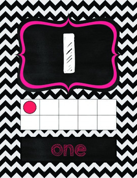 Chalkboard and Chevron Number Posters 0-20