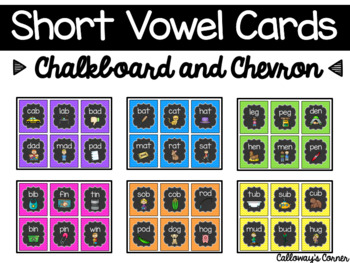 Short Vowel Cards (CVC) Chalkboard and Chevron Theme