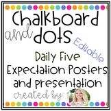 Chalkboard and Dots Daily 5 Expectation Posters and Presentation