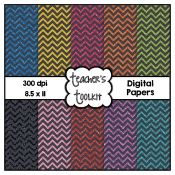 Chalkboard and Glitter Chevron Digital Papers {8.5 x 11} C