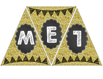 Chalkboard and Glitter Welcome Banner Pennant