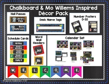 Chalkboard and Mo Willems Inspired Classroom Decor Pack