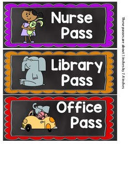 Chalkboard and Mo Willems Inspired Hall Passes