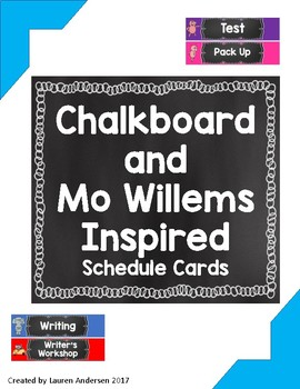 Chalkboard and Mo Willems Inspired Schedule Cards