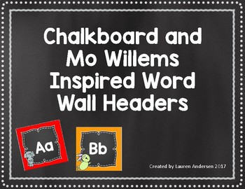 Chalkboard and Mo Willems Inspired Word Wall Header