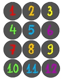 Chalkboard and Neon Number Circles 1-100