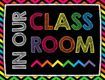Chalkboard and Neon Posters and Classroom Rules