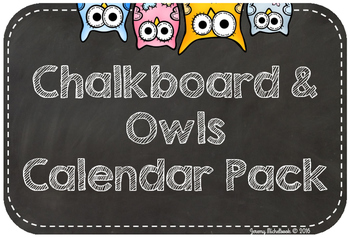 Chalkboard and Owls Calendar Pack