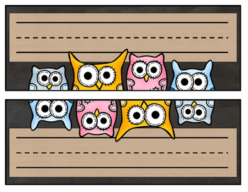Chalkboard and Owls Name Plates