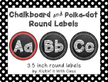 Chalkboard and Polka Dot Circle Labels