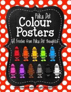 Chalkboard and Polka Dot Colour Posters {Freebie}