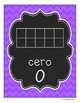 Chalkboard and Purple Chevron Number Line in Spanish