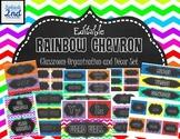Chalkboard and Rainbow Chevron Classroom Organization Pack