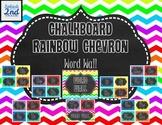 Chalkboard and Rainbow Chevron Word Wall