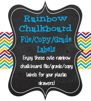 Chalkboard and Rainbow Colored File/Grade/Copy labels