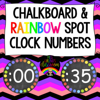 Chalkboard and Rainbow Spot Clock Numbers