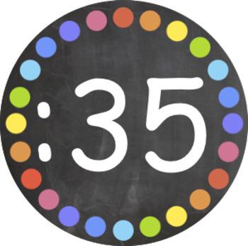 Chalkboard and Rainbow Spot Clock Numbers