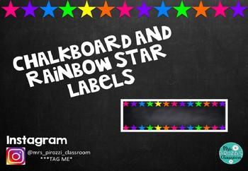 Chalkboard and Rainbow Star Labels #ausbts18