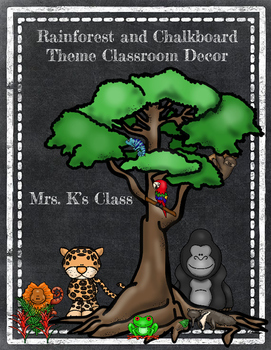 Chalkboard and Rainforest or Jungle Theme Classroom Decor Pack
