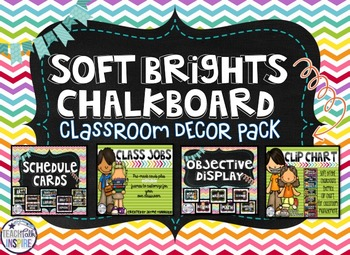 Chalkboard and Soft Brights Classroom Decor Pack