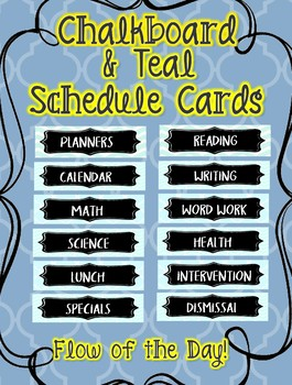Chalkboard and Teal Aqua Schedule Cards Flow of the Day EDITABLE