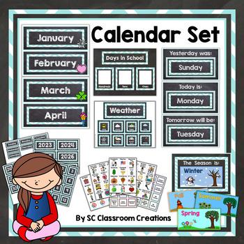 Chalkboard and Teal Chevron Calendar Set