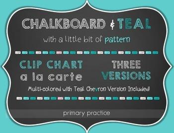 Chalkboard and Teal Clip Charts a la Carte