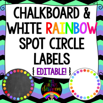 Chalkboard and White Circle Labels {Editable!} 3 Sizes!
