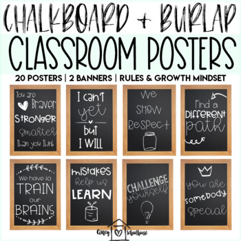 Chalkboard and Wood Classroom Rules and Growth Mindset Posters