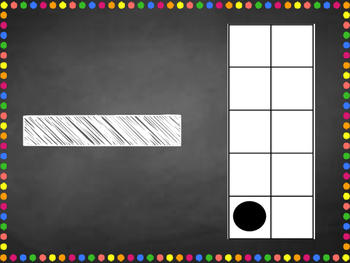 Chalkboard and bright number posters with ten frames