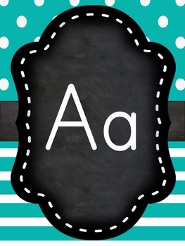 Chalkboard and teal alphabet line posters