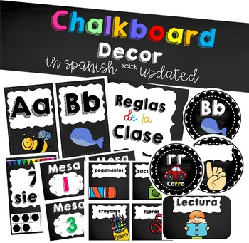 Chalkboard bright class decor in Spanish!