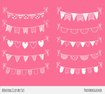 Chalkboard bunting clipart, White hand drawn doodle banner flags pennant