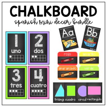 Chalkboard classroom decor mini bundle-Spanish