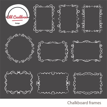 chalkboard curly frames clipart vector graphics cl026