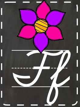 Chalkboard cursive alphabet