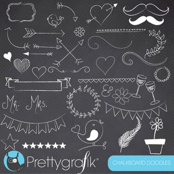 Chalkboard doodles clipart commercial use, vector graphics, digital - CL684