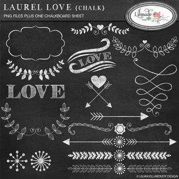 Chalkboard hearts, arrows and laurel clip arts. Chalkboard digital paper