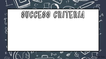 Chalkboard learning intention & success criteria