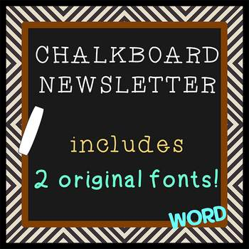 chalkboard theme plus two free fonts bonus newsletter template word
