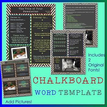 CHALKBOARD Theme plus TWO FREE FONTS Bonus - Newsletter Template - Word