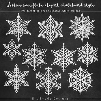 Chalkboard snowflake clipart, chalkboard winter clipart, chalkboard paper