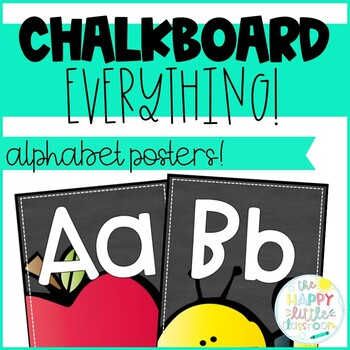 Chalkboard-themed Alphabet Posters & Word Wall Labels