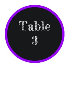 Chalkboard themed table numbers