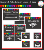 Chalkboard with Banners & Polka Dots Art Labels